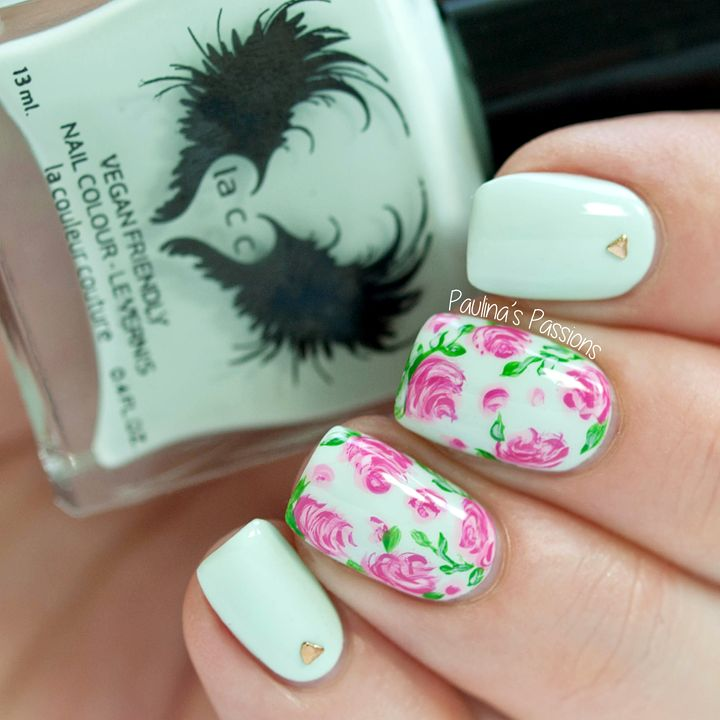 Best 25 vintage nail art ideas on pinterest nail designs floral soft vintage rose nail art with lacc nail polish springsummer prinsesfo Gallery