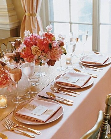 I think the blush color table linens are not as 'stark' as pure white but still very wedding-y.   peach and coral wedding #peach #wedding #details