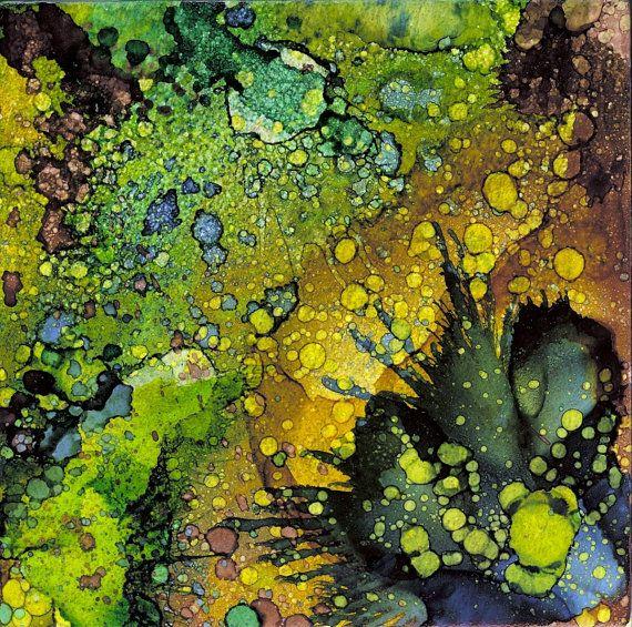 Ursprüngliche Kunst: Alkohol-Tinten-Malerei auf Keramik-Fliese