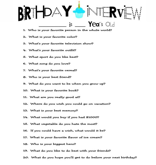 A great idea for kids birthdays to ask the same 20 questions every year and then give it to them when they are older.