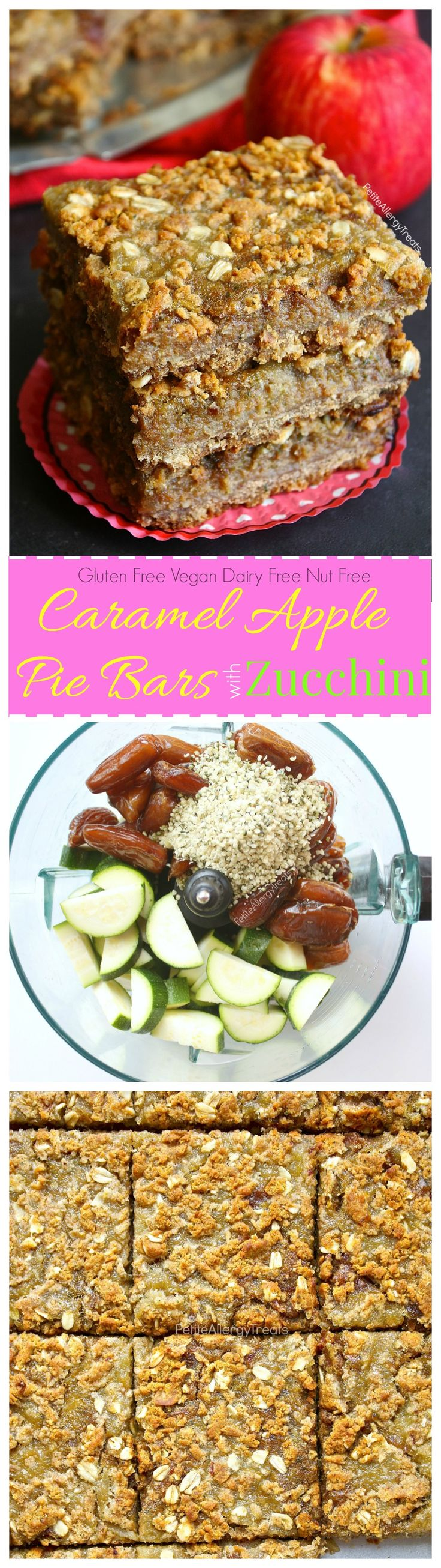 Gluten Free Caramel Apple Pie Bars Recipe (vegan dairy free)- Apple pie meets healthy zucchini and dates!