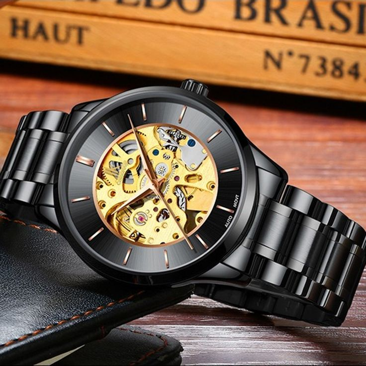 IK COLOURING Luxury Skeleton Automatic Mechanical Men Watch Sale Online Shopping #1 - Tomtop.com
