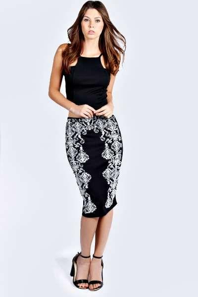 Cameron Caviar Beaded Midi Skirt at boohoo.com