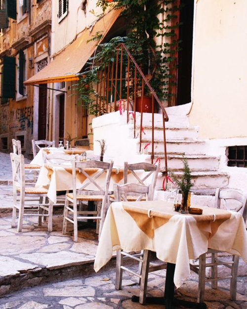 Greek taverna ~ nice grey chairs