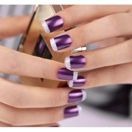 French nails with purple