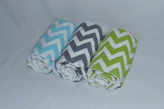 Baby Boy Burp Cloths - Boutique Boy Chevron Burp Cloth Set - Blue and Green- Sweet Devotion on Etsy, $22.00