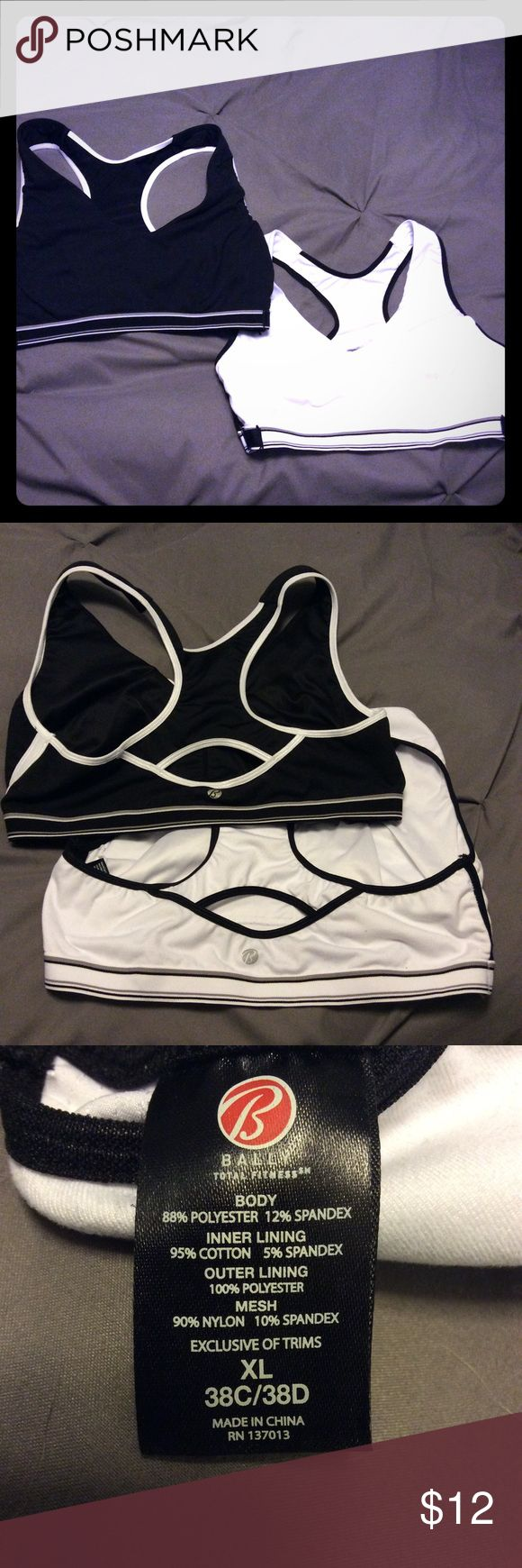 Bally sports bras! Size ️XL 2 Bally fitness sports bras - black and white. Such a great and supportive design. Size ️XL, see sizes on tag. However I wore at 36DD. Adjustable. Place for optional extra padding, like bikini pad inserts if you wanted. Sorry no trades, I only sell thru posh. Make a bundle for even more savings! ✨📦📫 Other