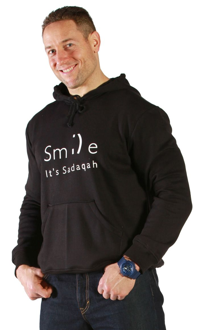 """""""Smile"""" It is Sadaqah. Comfortable Hoodie set to be one of your favorites. Made from pre-shrunk 100% cotton, it wears well on anyone. Ribbed sleeves and hem."""