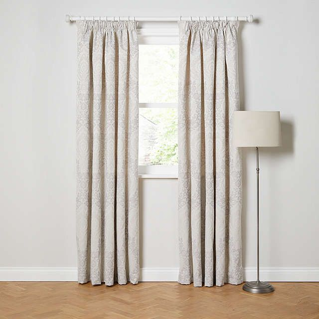 BuyJohn Lewis Alba Damask Lined Pencil Pleat Curtains, Natural, W167 x Drop 137cm Online at johnlewis.com
