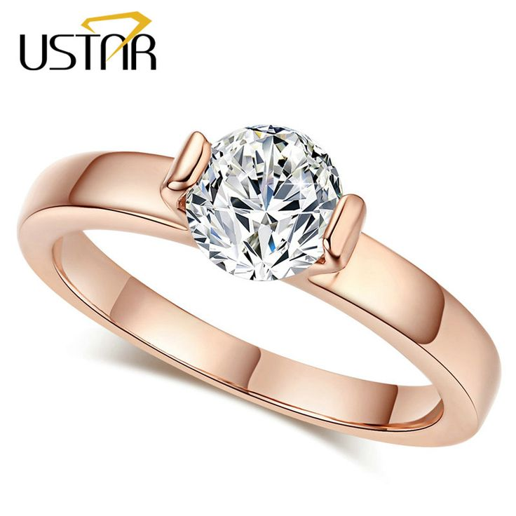 Classic CZ Diamond Jewelry Wedding rings for women Rose Gold plated Crystals rings female Anel top quality