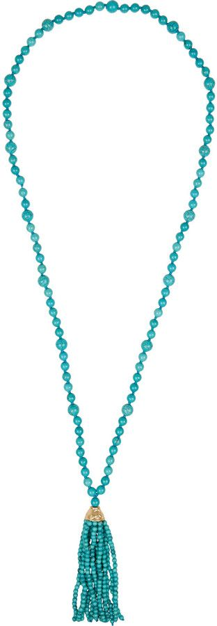 Kenneth Jay Lane Faux turquoise beaded tassel necklace