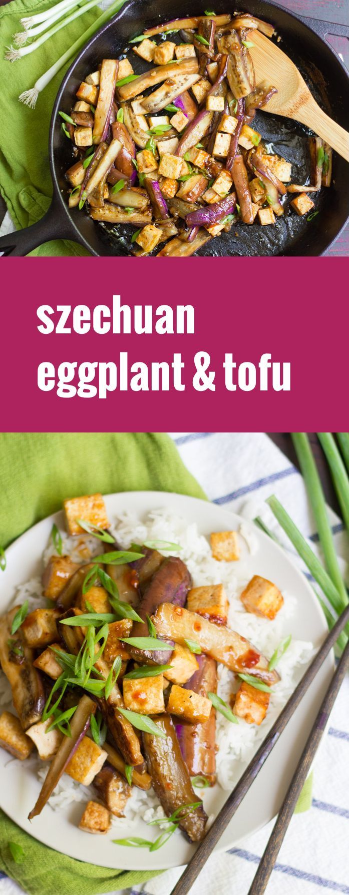 This melt-in-your-mouth Szechuan eggplant is pan fried, coated in a garlicky sweet-spicy sauce and served with crispy tofu over a bed of rice.
