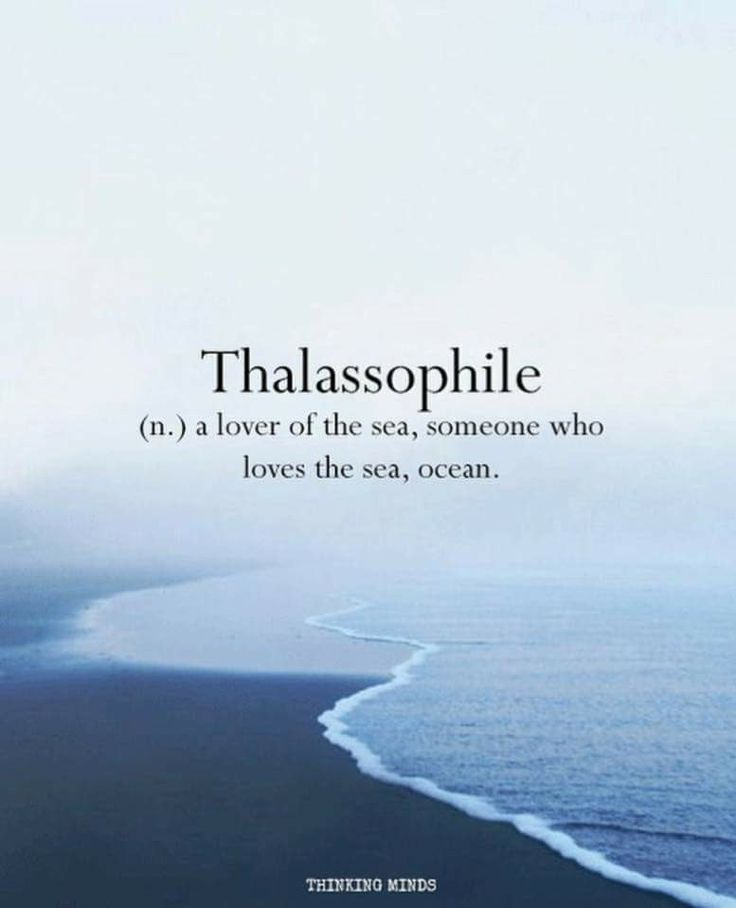 Thalassophile (n.) a lover of the sea, someone who loves the sea, ocean.