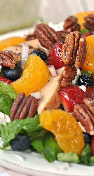 strawberry pecan salad with goat cheese