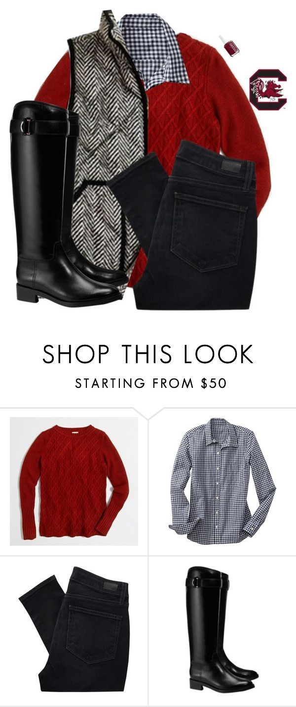 """Going to the Carolina Game today!"" by sc-prep-girl ❤ liked on Polyvore featuring J.Crew, Gap, Paige Denim, Tory Burch and Essie"