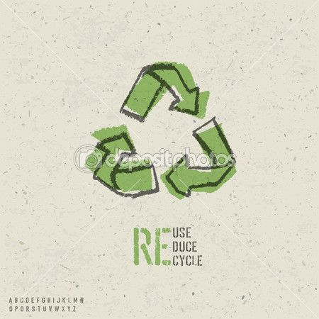 Reuse, reduce, recycle poster design.  Include reuse symbol imag