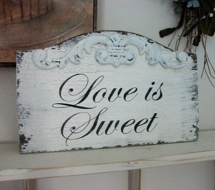 LOVE IS SWEET Shabby Cottage Vintage Wedding Candy Table Signs 13 x 9