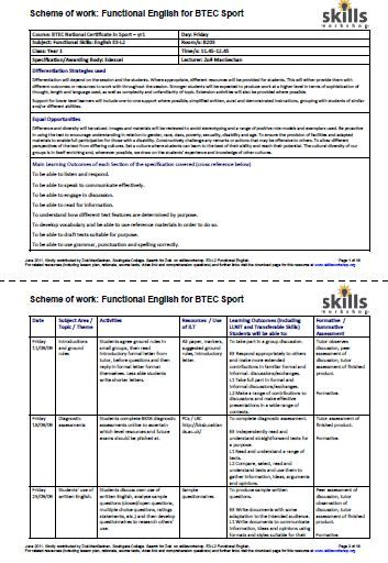 Functional English SoW and resources for BTEC Sport E3, L1, L2