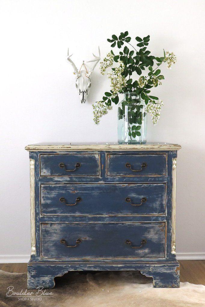 Vintage Indigo Blue Chest