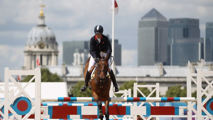 DHI Topper W ridden by Piggy French of Great Britain in action during the Show Jumping stage of the Equestrian Eventing at the LOCOG Test Event | London 2012