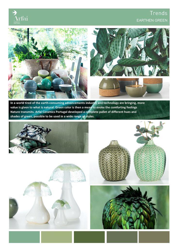 EARTHEN GREEN | Trends by Arfai Ceramics Portugal #green #trends #ceramics #earth #decor #nature #moodboard