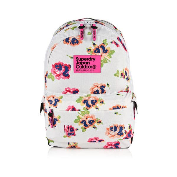 Superdry Summer Blush Montana Rucksack (£40) ❤ liked on Polyvore featuring bags, backpacks, white, superdry backpack, superdry bag, summer backpack, knapsack bags and white backpack