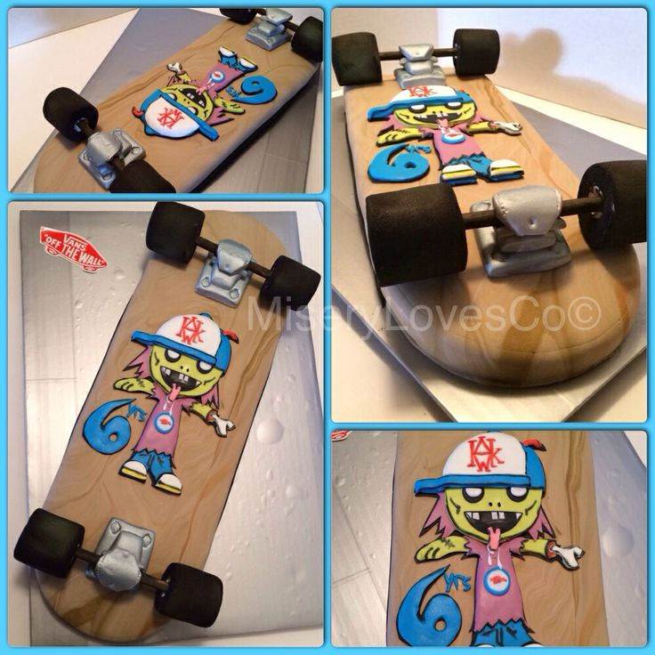 """The all edible custom skate board deck with Tony Hawk's """"zombie skater boy"""" cake! More pics and video at www.facebook.com/mlc510 www.miserylovesco.biz"""