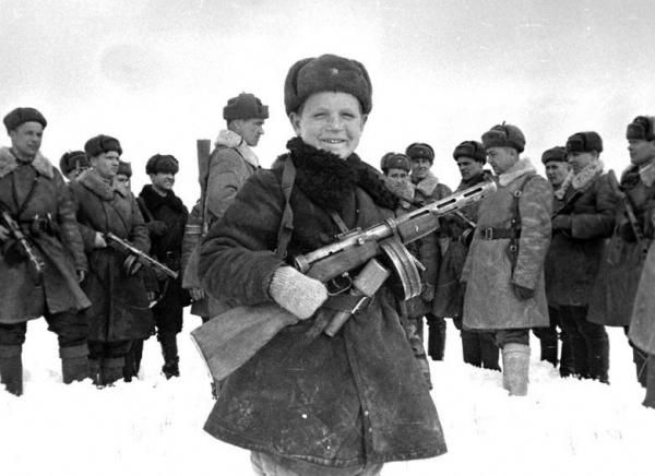 Russian child soldier. WWII