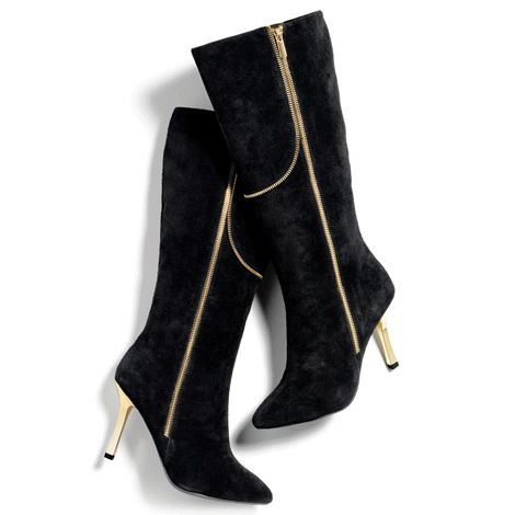 Lush black genuine suede combines with shiny gold tone zipper trim and killer shiny gold tone electroplated heels for a stunning, knee-high style statement. www.Facebook.com/shopavonwithdeon