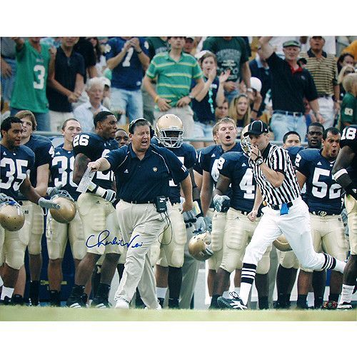 Charlie Weis Running Down Sidelines 16x20 Photo - Charlie Weis graduate of the University of Notre Dame made his name in the coaching world as the offensive coordinator of the New England Patriots. After helping them to win four different Super Bowls Weis then decided to return to his alma mater as the head football coach. He coached at Notre Dame from 2005 to 2009 before accepting the job as head offensive coordinator for the Kansas City Chiefs. Charlie Weis has hand signed this great 16x20…