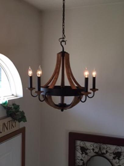 hampton bay talo 5light driftwood chandelier at the home depot mobile - Chandelier Home Depot