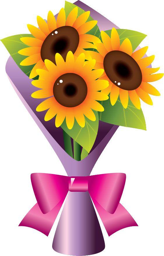 Flower Art Sunflowers Clip Bouquets Floral Nosegay Illustrations