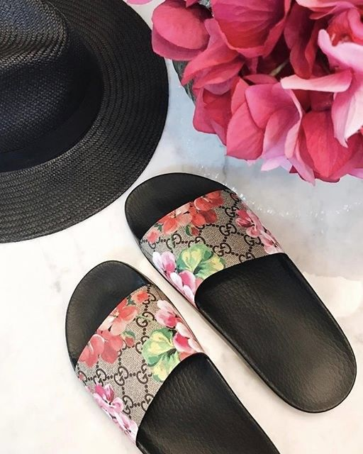 Gucci floral slides for Spring Outfits.  See more at www.HerStyledView.com