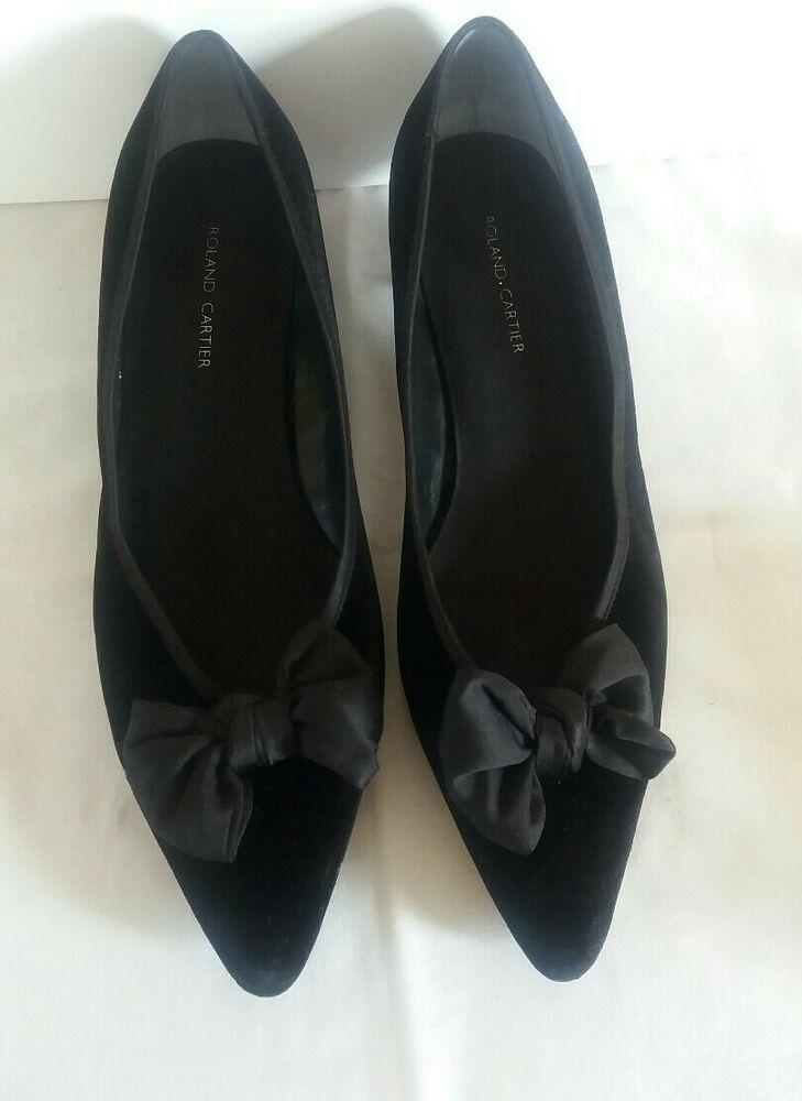 Roland Cartier Black Velvet Kitten Heel Shoe Size 10 Kitten