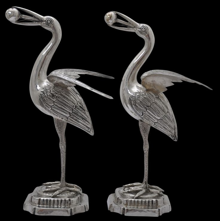 Two Silver Heron Rosewater Sprinklers, c. 1900. This whimsical pair of rosewater sprinklers are fashioned from solid silver and are shaped as herons. Find important Asian art for sale on CuratorsEye.com.
