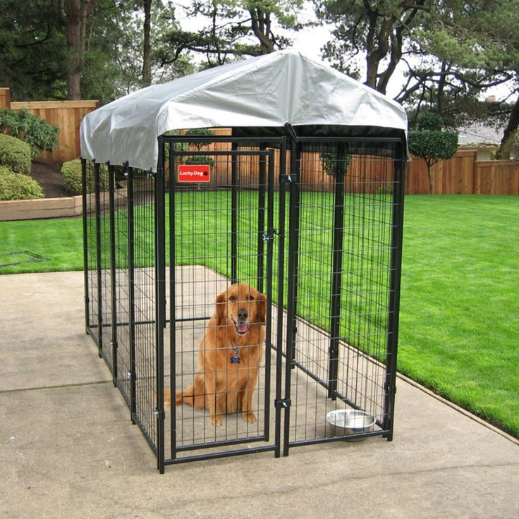 Lucky Dog Uptown Welded Wire Dog Kennel with Free Cover - Offer your pet a safe and secure place of its very own with the Lucky Dog 4 x 8 x 6 ft. Uptown Welded Wire Dog Kennel. This single door kennel feature...