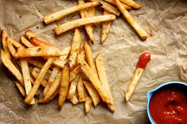 french fries chips ketchup yellow red food delicious