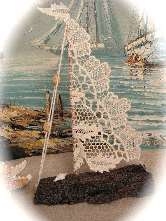 Driftwood Sailboat with Antique Lace  for Beach by Mydaisy2000, $28.00