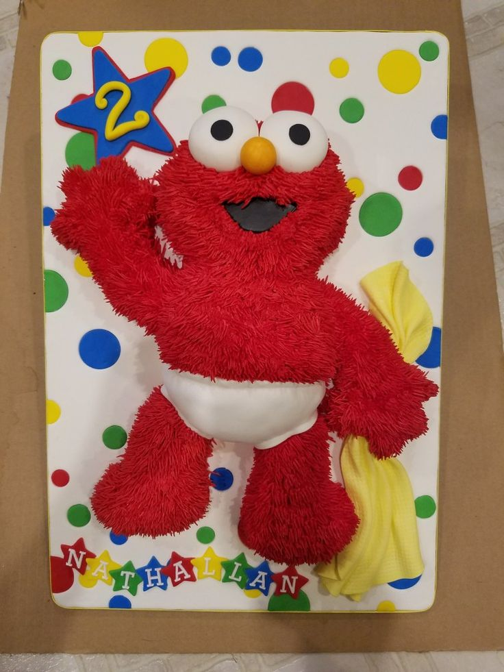 Baby Elmo inspired cake for a young man's birthday.
