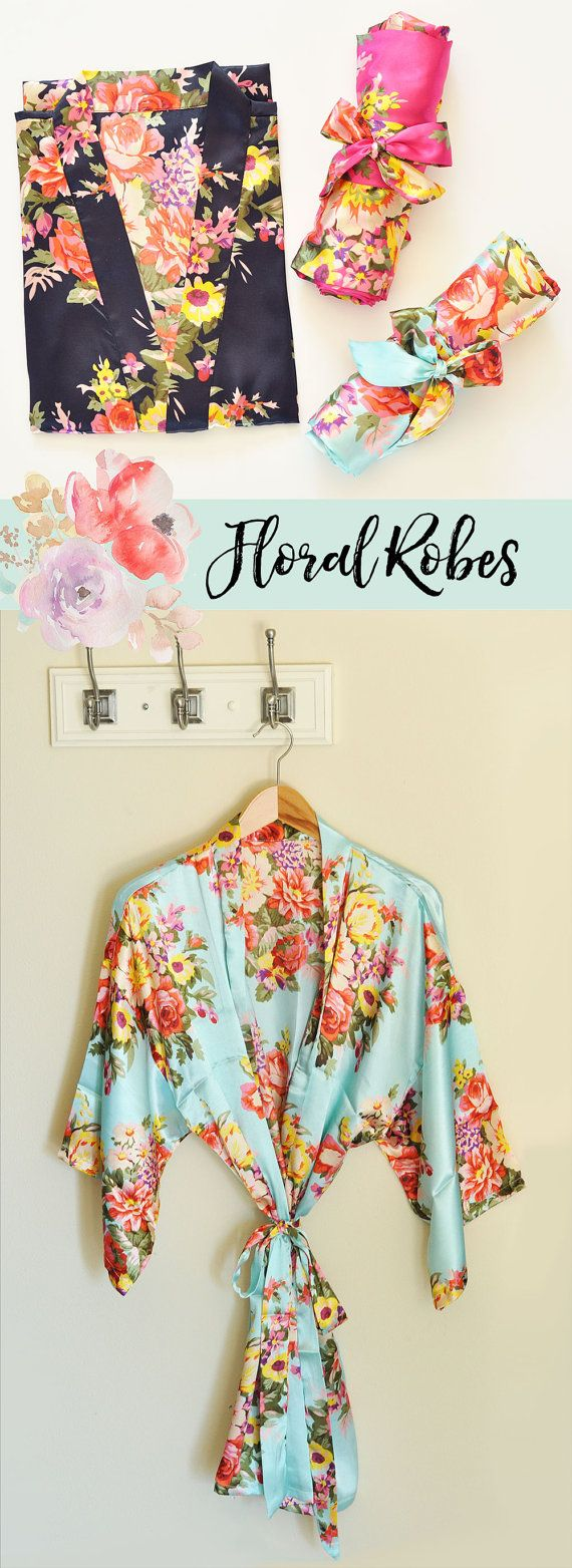 Floral Bridesmaid Robes make a pretty gift for your bridesmaids! Your bridal party will love getting dressed for your wedding day in these delicate satin robes - by Mod Party