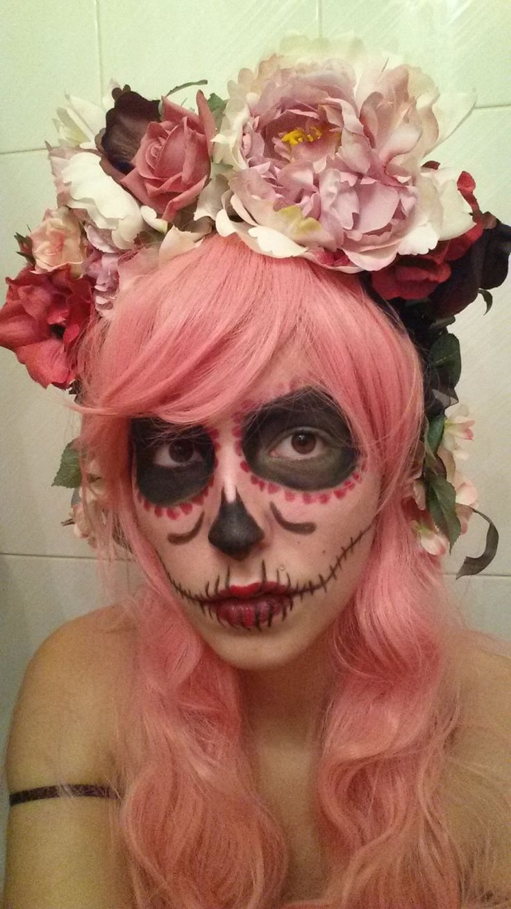 Day Of The Dead Floral Pink Crown Headpiece By