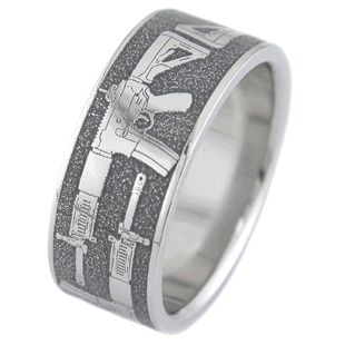 Assault Rifle Gun Wedding Ring