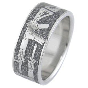 Assault Rifle Gun Wedding Ring