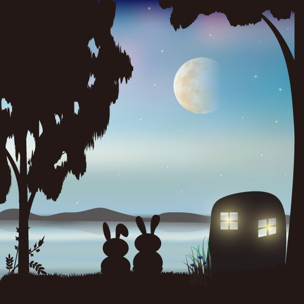 Romantic silhouette vector