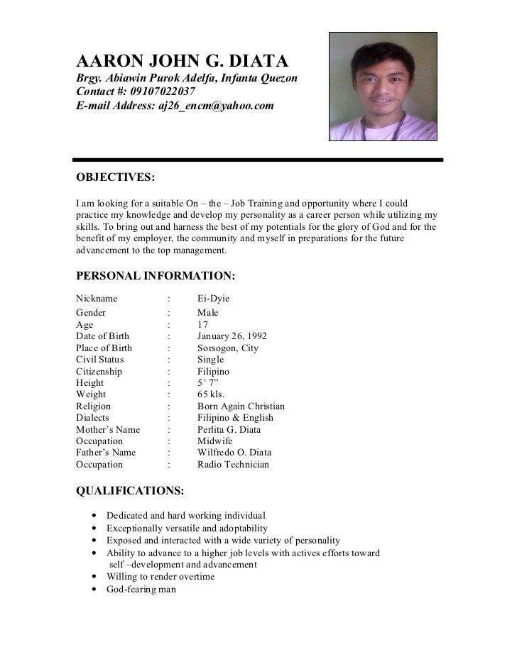 Example Of Resume Format For Ojt Document Blogs Sample Resume