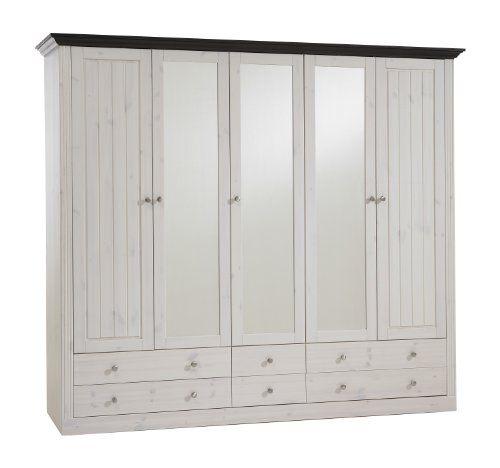 Steens Monaco 2+3 Glazed Door 4+2-Drawer Wardrobe, Whitewash/Dark Stain Finish