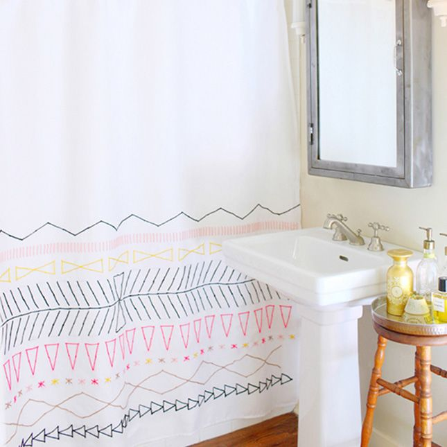 Can't find the perfect shower curtain for your bathroom? Make your own!