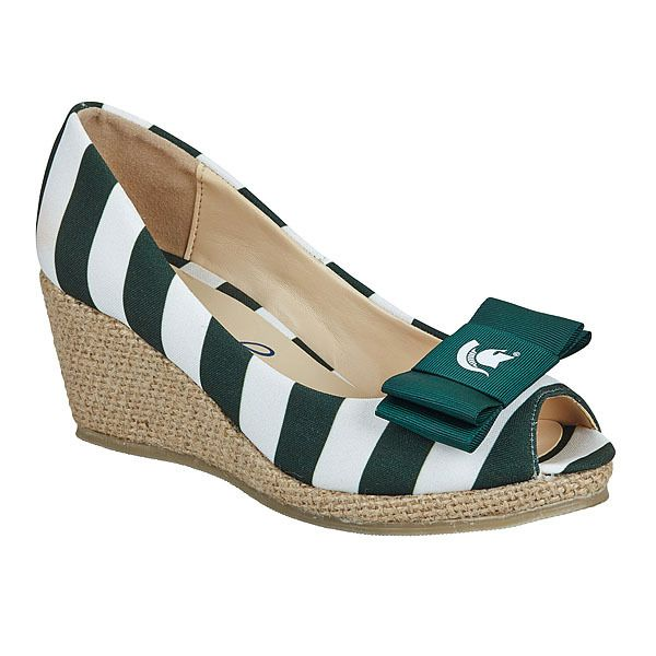 lillybee - Michigan State University Wedges   Michigan State University Bow, $98.00 (http://www.lillybee.com/michigan-state-university-wedges-michigan-state-university-bow/)