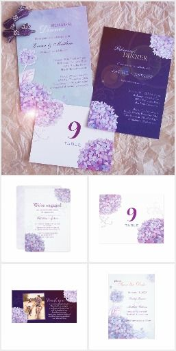 Hydrangea Wedding Invitation Set in Lavender and Periwinkle | Lavender Blue, Blue Iris, Blue Purple, Blackberry Cordial, Deep Berry, Aubergine, Dark Purple Wedding | Floral Garden Wedding
