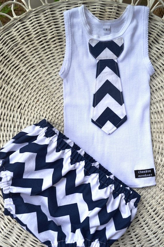 Baby Boy Tie Singlet Onesie Nappy Cover Set In Navy Chevron on Etsy, $28.46